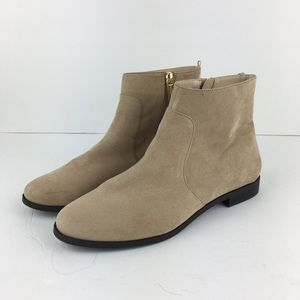 H&M Cream Faux Suede Chelsea Style Booties US 7